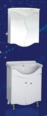 Комплект мебели за баня САХАРА 60 см. - долен шкаф с мивка и горен шкаф с огледало и осветление