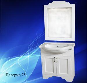 Комплект мебели за баня ПАЛЕРМО 75 см. - долен шкаф с мивка и огледало с рамка