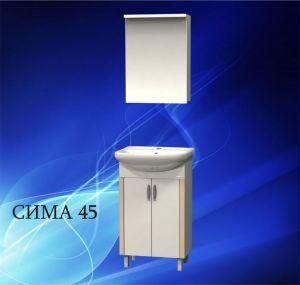 Комплект мебели за баня СИМА 45 см. - долен шкаф с мивка и горен шкаф с огледало и осветление