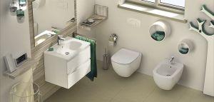 WC Комплект за вграждане TESI SCHELL - структура за вграждане SCHELL с крепеж, шумоизолация и бутон и стенна тоалетна TESI Aquablade със седалка със забавено падане