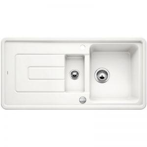 BLANCO TOLON 6 S Кухненска мивка керамика кристално бял гланц с автоматичен сифон