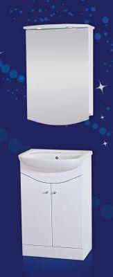Комплект мебели за баня КОЛО I 50 см. - долен шкаф с мивка и горен шкаф с огледало и осветление