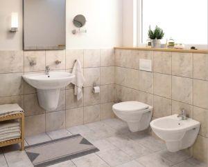 Комплект ROCA FAYANS NEO Rimless - структура за вграждане Eco Solution с бутон, конзолна тоалетна чиния FAYANS NEO Rimless с дъска със забавено падане