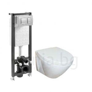 Комплект ROCA FAYANS VIVA HAPPY - структура за вграждане ECO COMPACT 35 cm с бутон, конзолна тоалетна чиния FAYANS VIVA HAPPY с дъска