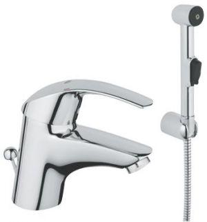 GROHE Eurosmart  Hygenica,  1-ръкохватков смесител за умивалник,  твърди връзки + ръчен душ със стенен държач и АКСЕСОАРИ
