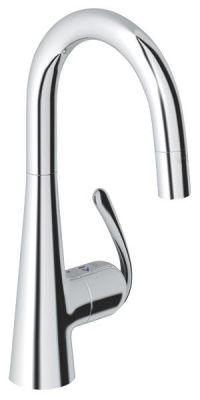 GROHE Zedra, 1-ръкохватков смесител за кухня, с вграден издърпващ се 2-функционален  душ, въртящ се тръбен U чучур