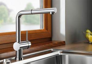 BLANCOLINUS-S-F  хром Смесителна батерия за кухня с изтеглящ се душ, за пред прозорец