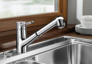 BLANCOORION-S-F  хром Смесителна батерия за кухня с изтеглящ се душ,за пред прозорец
