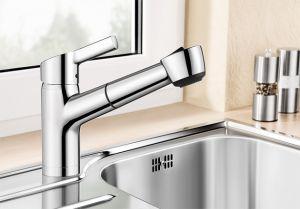 BLANCOELIPSO-S-F  хром Смесителна батерия за кухня с изтеглящ се душ за пред прозорец