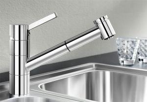 BLANCOTIVO-S- F хром Смесителна батерия за кухня с изтеглящ се душ за пред прозорец