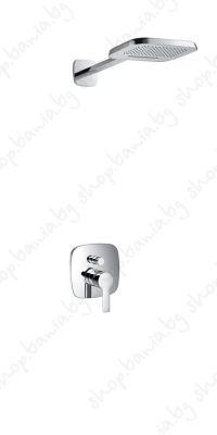 Душ система за вграждане Елипс със двупътна стенна  душ пита, летен дъжд и каскада