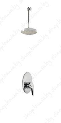 Комплект за вграждане Видима Seva II, трипътен смесител с таванно рамо и душ пита