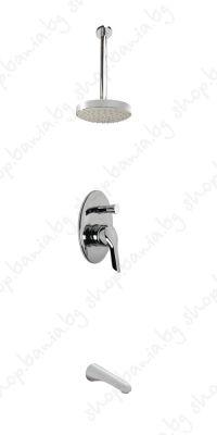 Комплект за вграждане Видима Seva II, четрипътен смесител с таванно рамо, душ пита и чучур