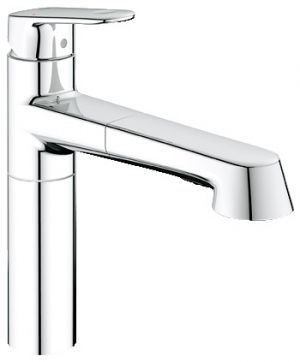 GROHE Europlus, 1-ръкохватков смесител за кухня, с вграден издърпващ се душ, хром