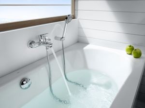 ROCA L20 смесител за вана-душ с автоматичен превключвател със задържане, душ слушалка, шлаух 1,70 м и подвижен държач