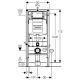 Комплект GEBERIT KOLO NOVA PRO структура за вграждане GEBERIT с бутон, конзолна WC KOLO NOVA PRO RIMFREE с дъска със забавено падане